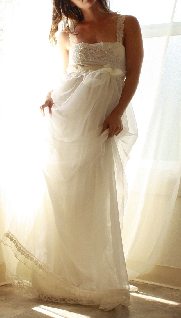 Reserved Ballerina Babydoll Wedding Gown In Chiffon With Lace And Pearl Applique Detailing Simply Romantic Wedding Gowns Gowns Dresses