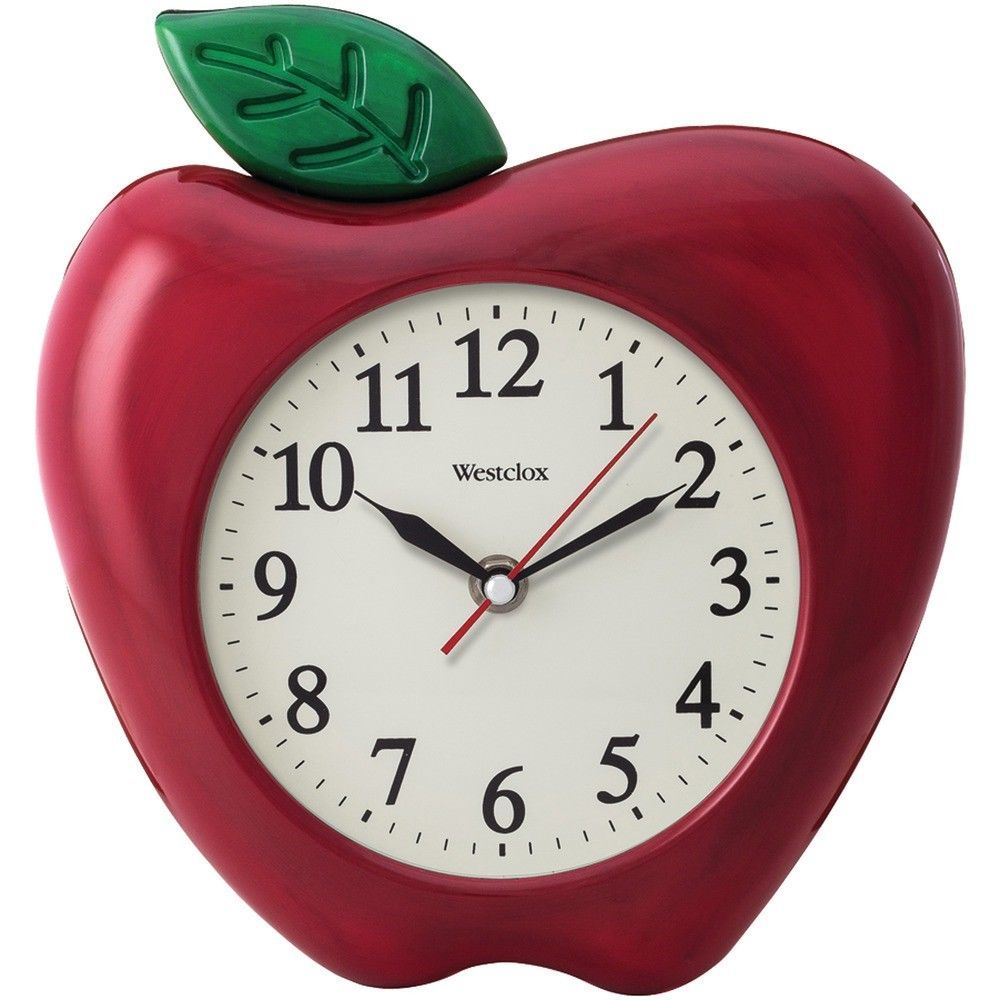 Red Apple Wall Clock 10 Inch Kitchen Classroom Time Glass Lens Teachers Gift Westclox Apple Wall Clock Modern Wall Clock Clock Wall Decor