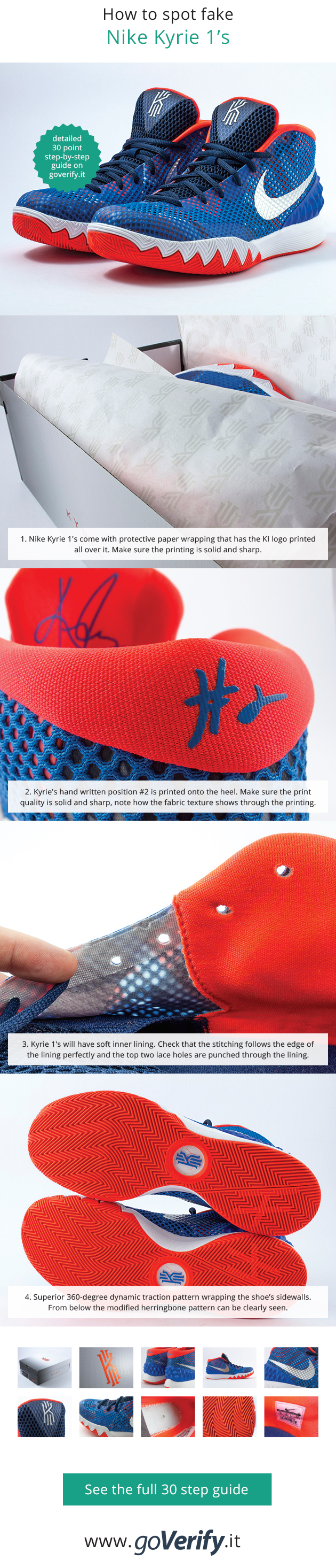 new styles edd84 24bb7 How to spot fake Nike Kyrie 1 s, go to www.goverify.it for a full 30 point  step-by-step guide.