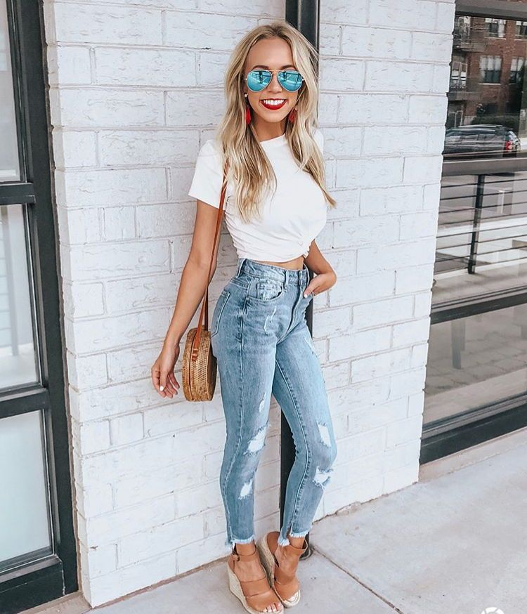 Distressed Jeans And A Cropped White T Shirt With Brown Wedges