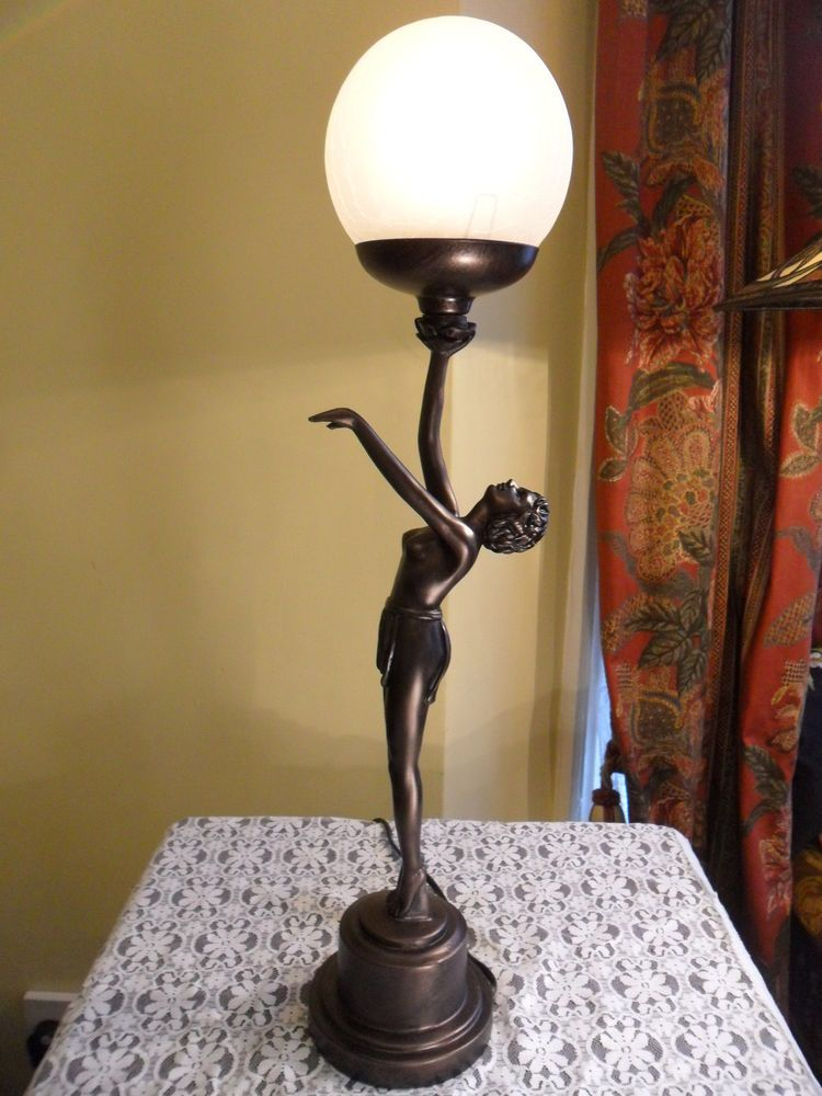 BRONZE NAKED NUDE LADY LAMP ART DECO FIGURINE NORA GLASS TABLE GLOBE SHADE  In Antiques |