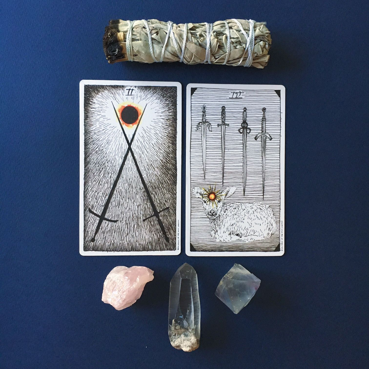 2/10/16 - It is decision making time, but a decision made through focus and quiet reflection, not grand gestures. The decision you come to is going to be a compromise. The bright orb of insight in the 2 of Swords burns between the swords of thought, bringing them togethe. So this decision is about finding a third way. In the 4 of Swords the orb of insight now burns in the mind of the calf who is so calm, focused and clear-headed she is not bothered by the swords that point down on her.
