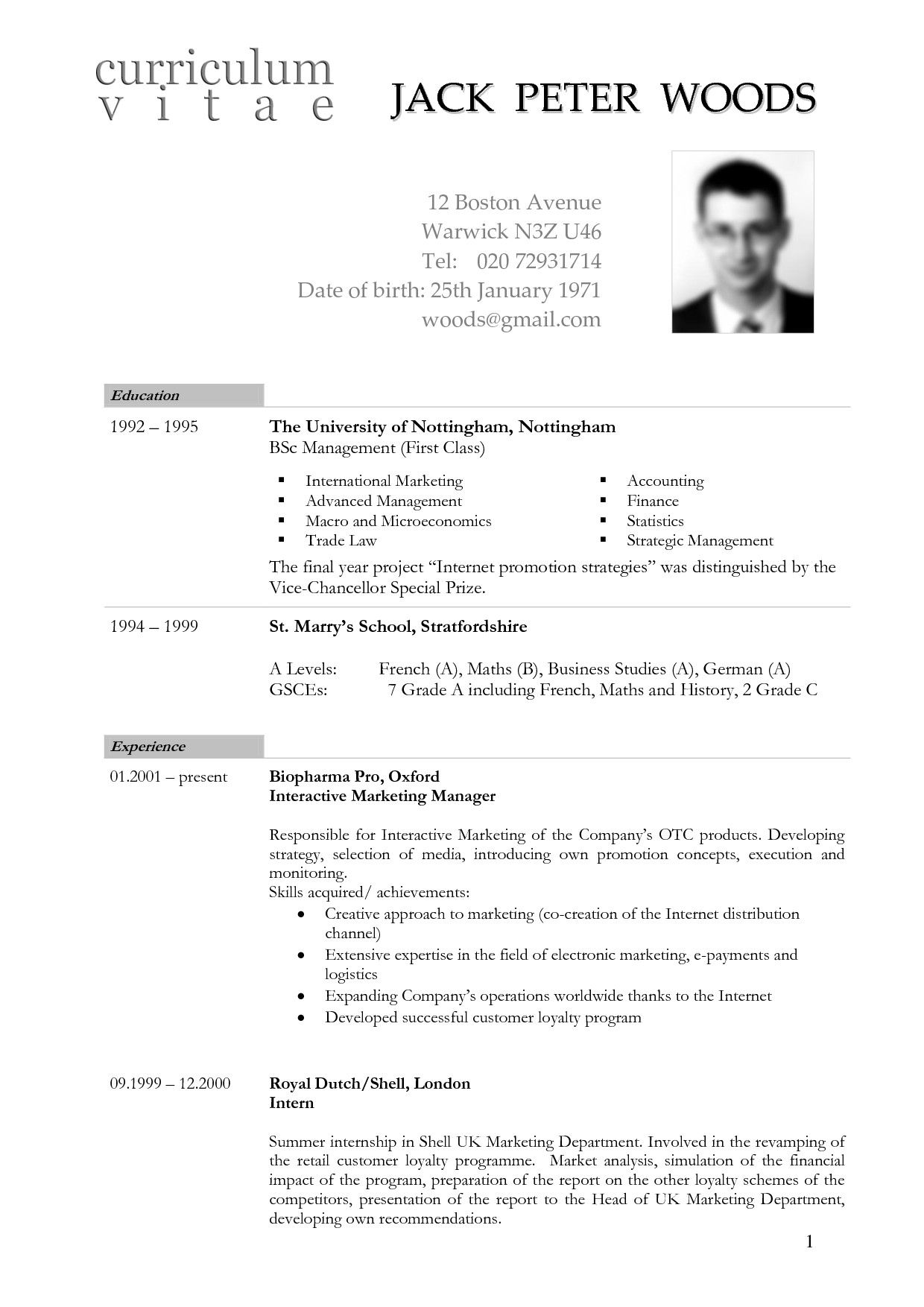 Cv Template Germany - Resume Format  Curriculum vitae