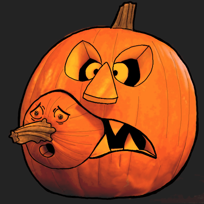 how to draw a jack o lantern eating a baby pumpkin in step by