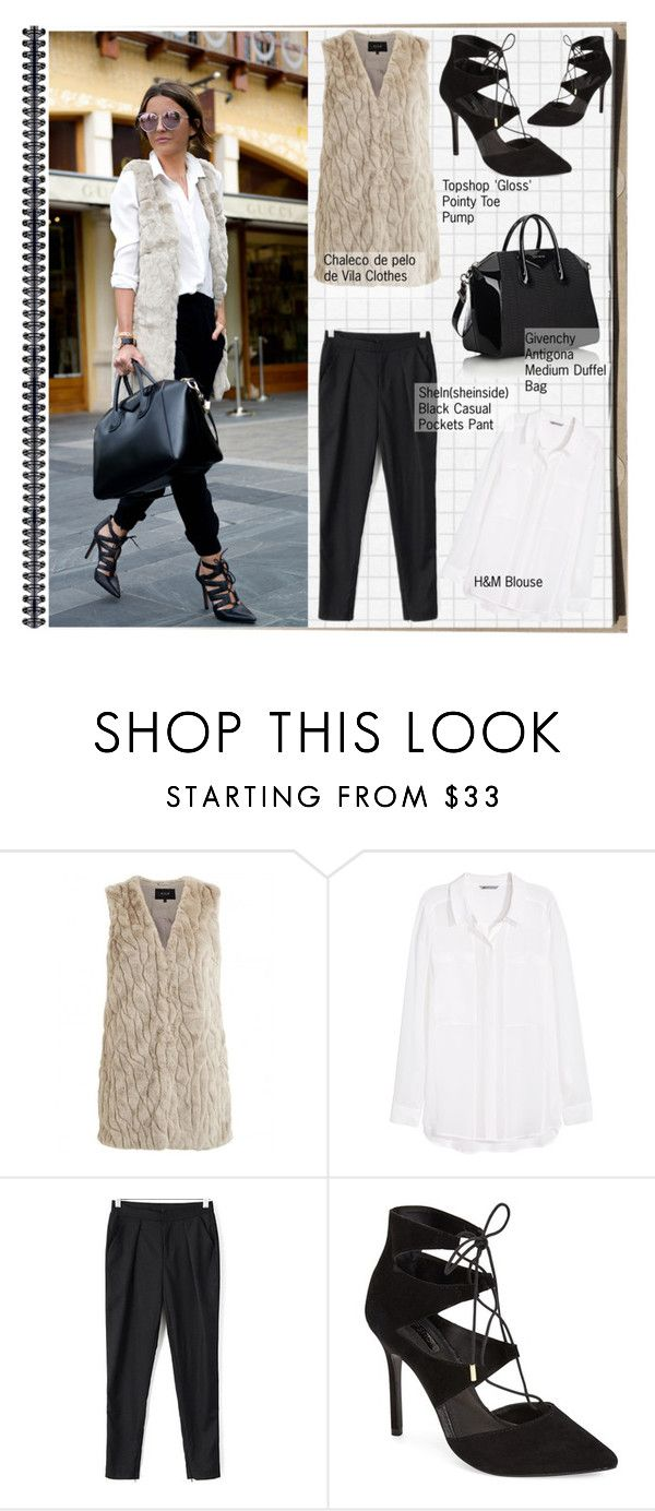 """""""Street Style"""" by selangel ❤ liked on Polyvore featuring VILA, H&M, Topshop and Givenchy"""