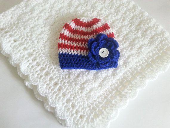 Baby Girl Blanket and Hat White Blue Red American Flag Handmade Crochet Baby  Boy Girl Set Shower Gif cd0540412d3b