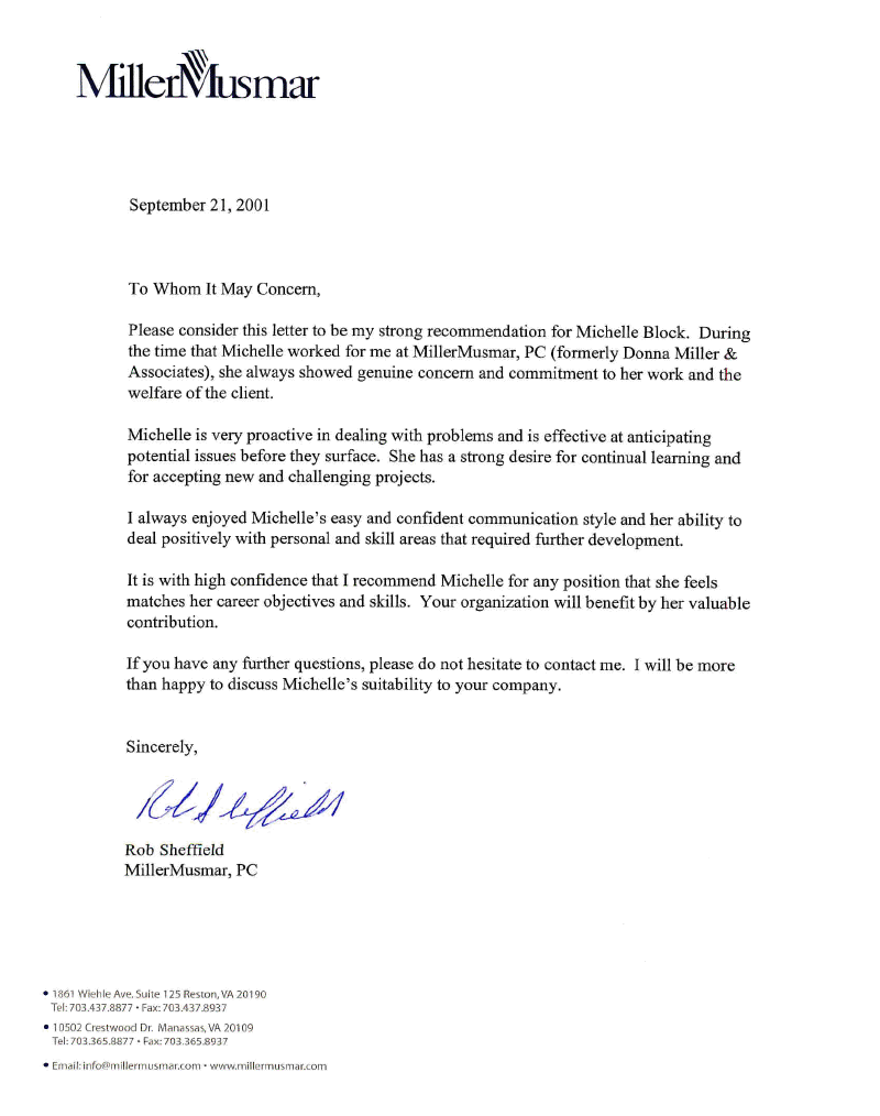 Letter Of Recommendation   R. Sheffield  Letter Of Recommendation Word