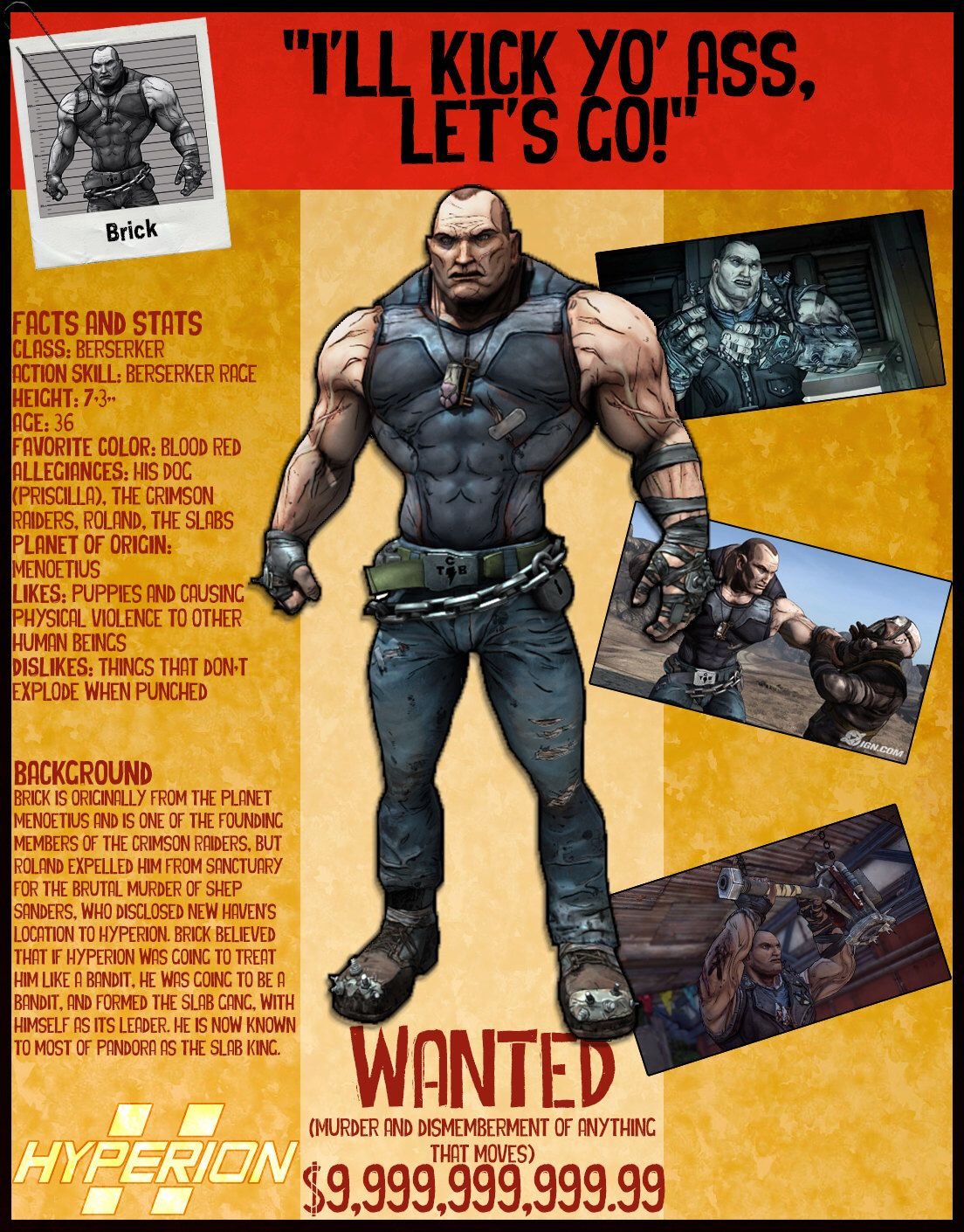 borderlands 2 wanted posters brick by