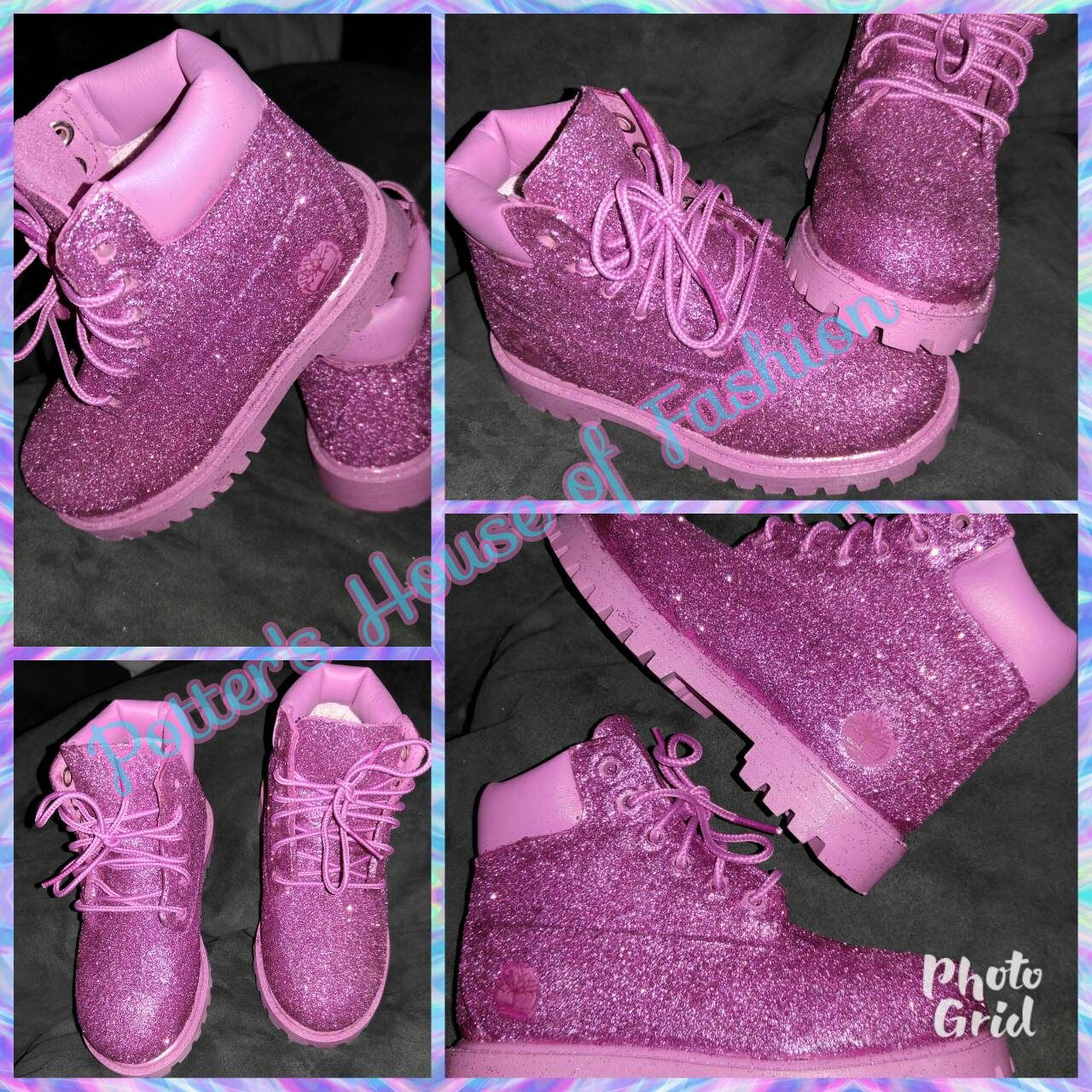 9e2b2a6898e3a4 Baby or toddler custom pink timberland boots with glitter! Can be created in  any size and color. Order your princess some today