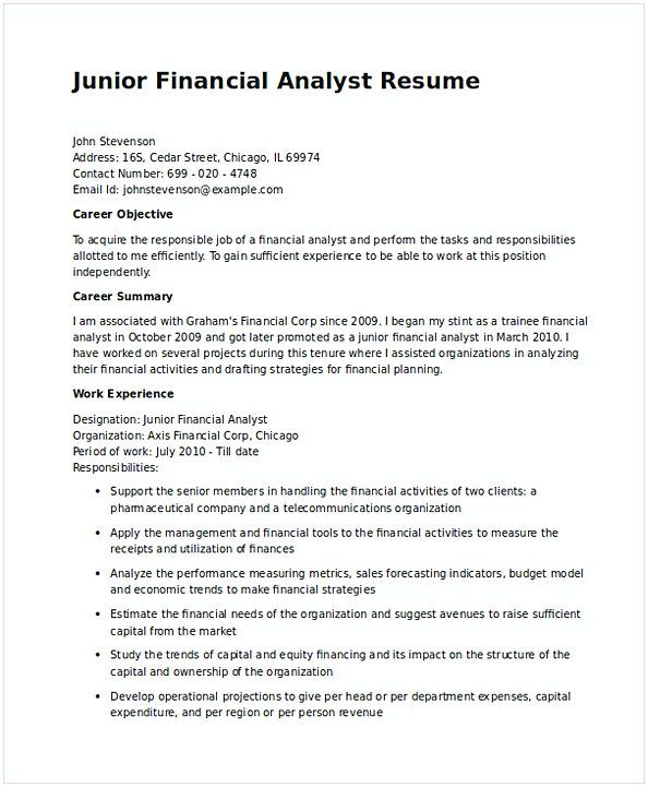 Junior Financial Analyst Resume In Word   Financial Analyst Resume