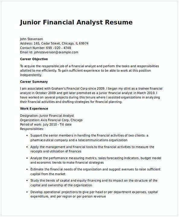 Junior Financial Analyst Resume in Word 1 , Financial Analyst Resume - revenue management analyst resume