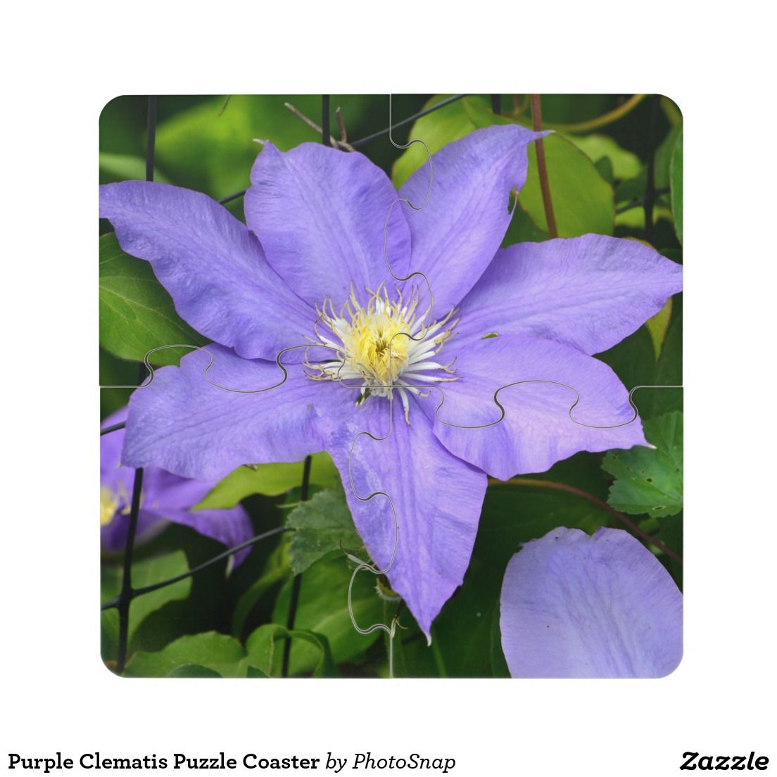 Purple clematis puzzle coaster flowers pinterest clematis and