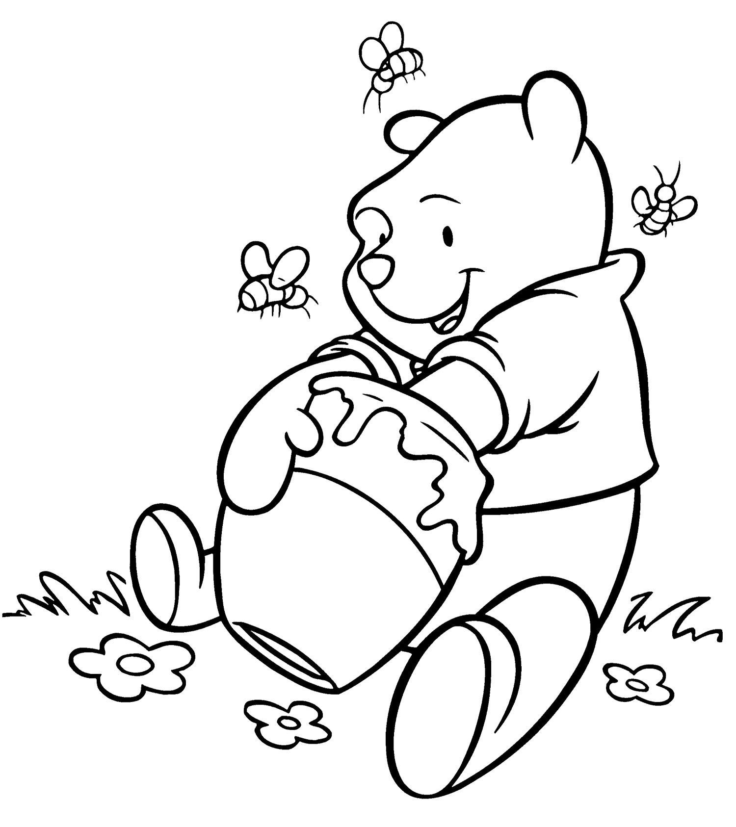 Winnie The Pooh Getting Delicious Honey Coloring Page Bee