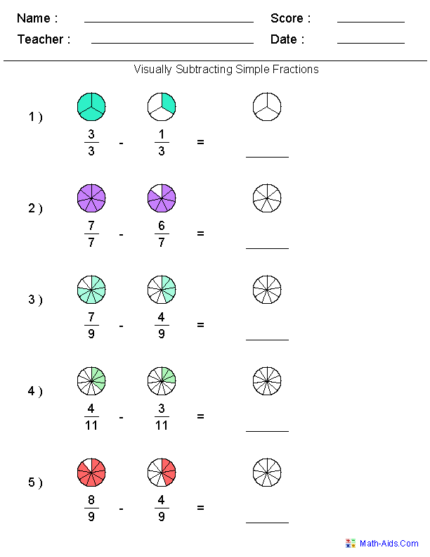 Fractions Worksheets – Addition Fractions Worksheets