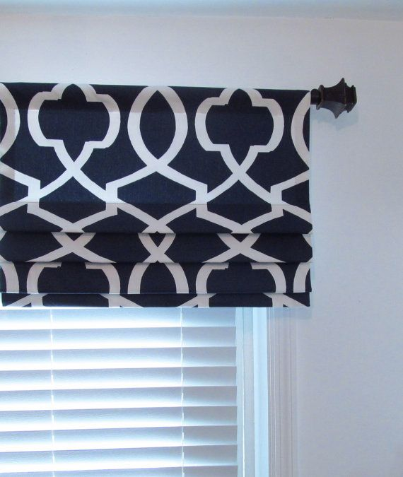 Custom Made Faux Roman Shades Navy Blue White By Supplierofdreams
