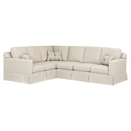 Beige Sectional Sofa With A Pleated Skirt And Fiber Wrapped Foam