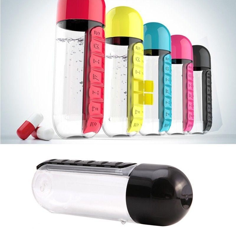 Water Bottle Portable Plastic BPA Free Daily Pill Box Drinking Bottle Leak-Proof