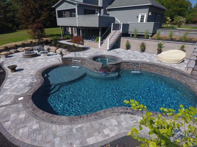 Gray Patio Charcoal Border Spa Pool Pools Backyard Inground Pool