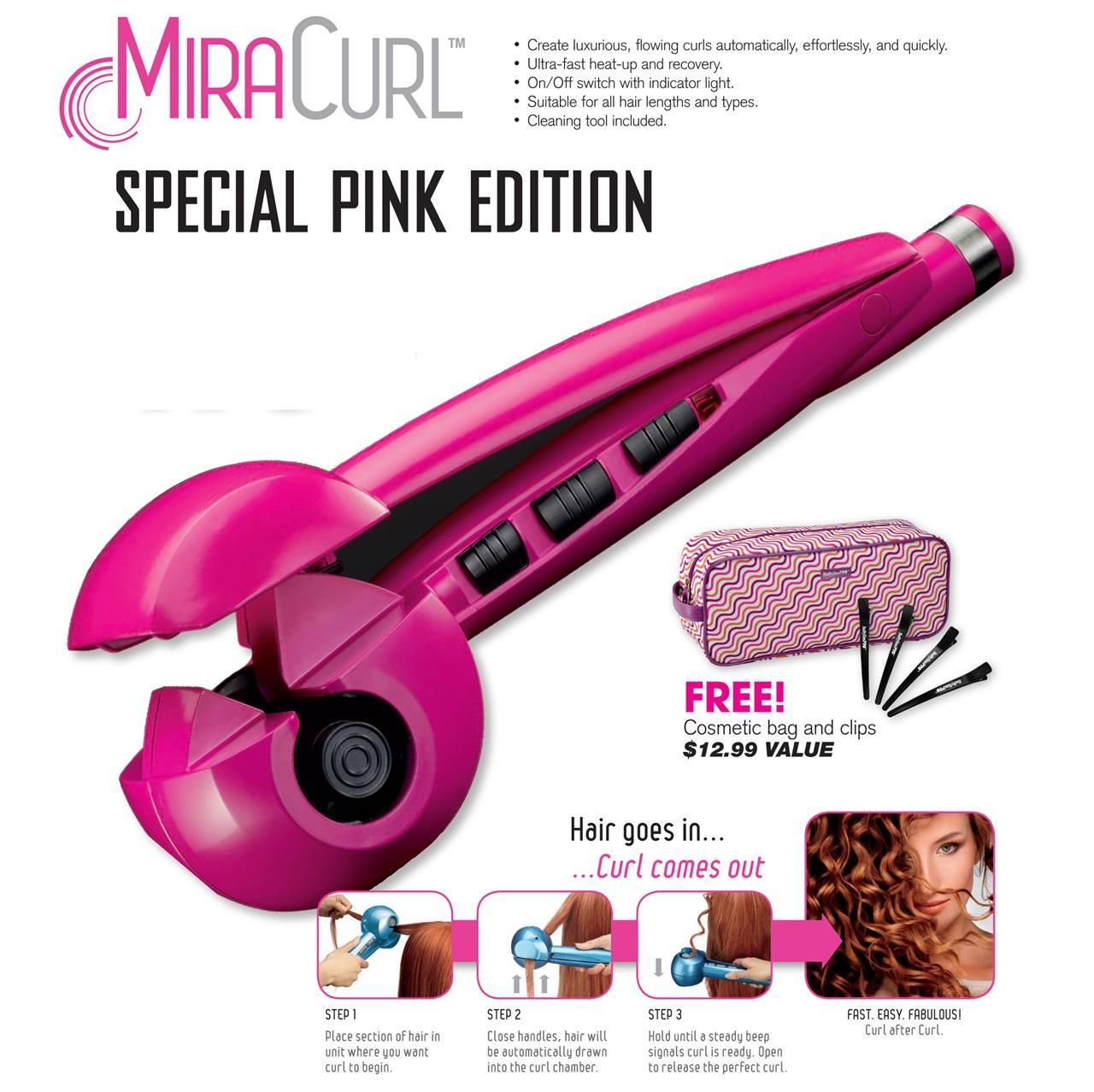 Babyliss miracurl pink limited holiday edition perfect curl free bag