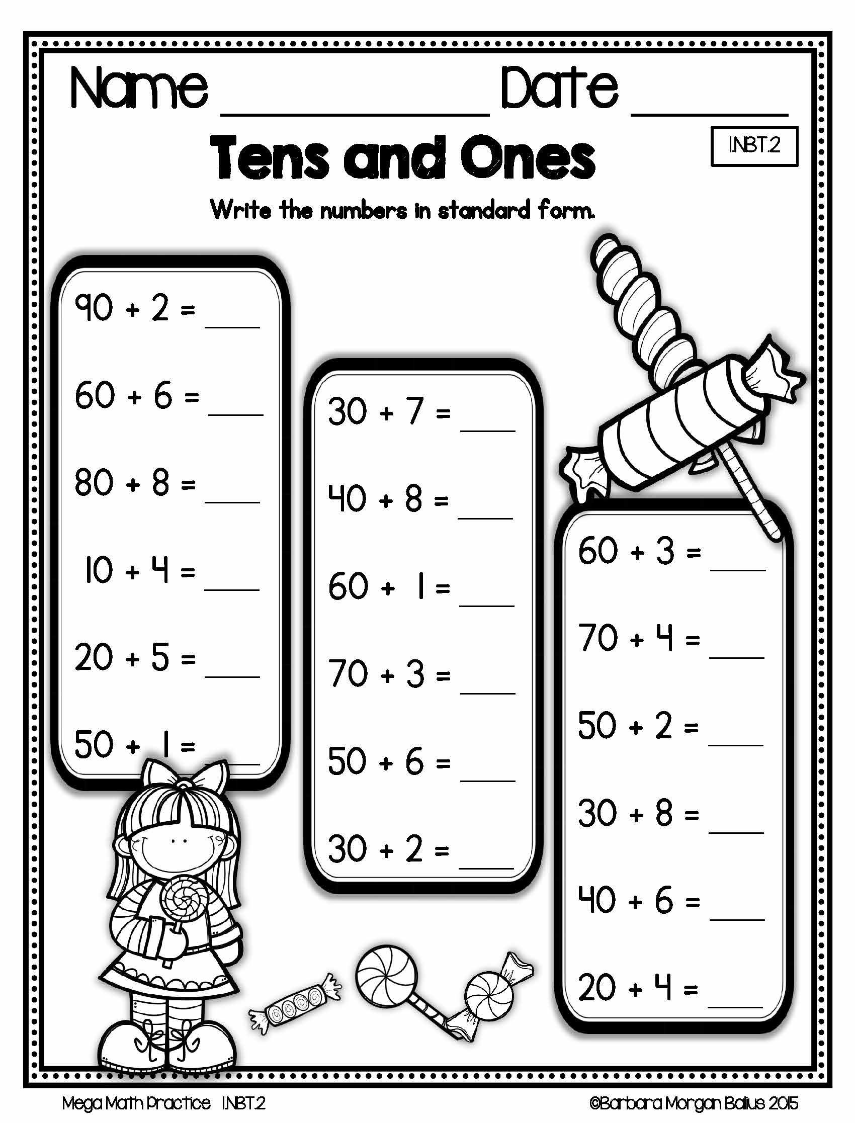 Number Sense Morning Work Place Value First Grade Math Mega Practice 1 Nbt 2