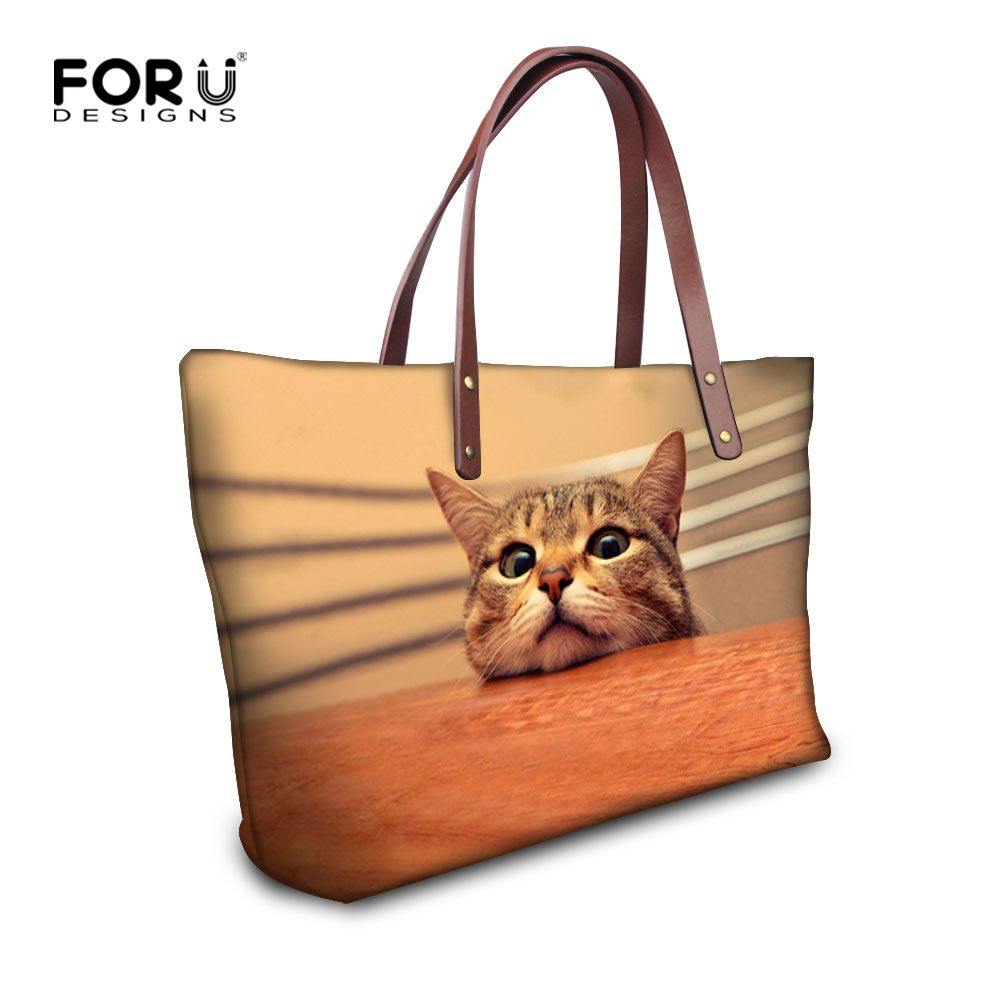 Handbag Paper Quality Logo Directly From China Celebrity Suppliers Cute Animal Cat Dog Printing For Women Casual Las