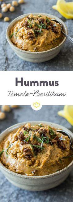 Tomaten-Basilikum-Hummus #veggiechilirecipe