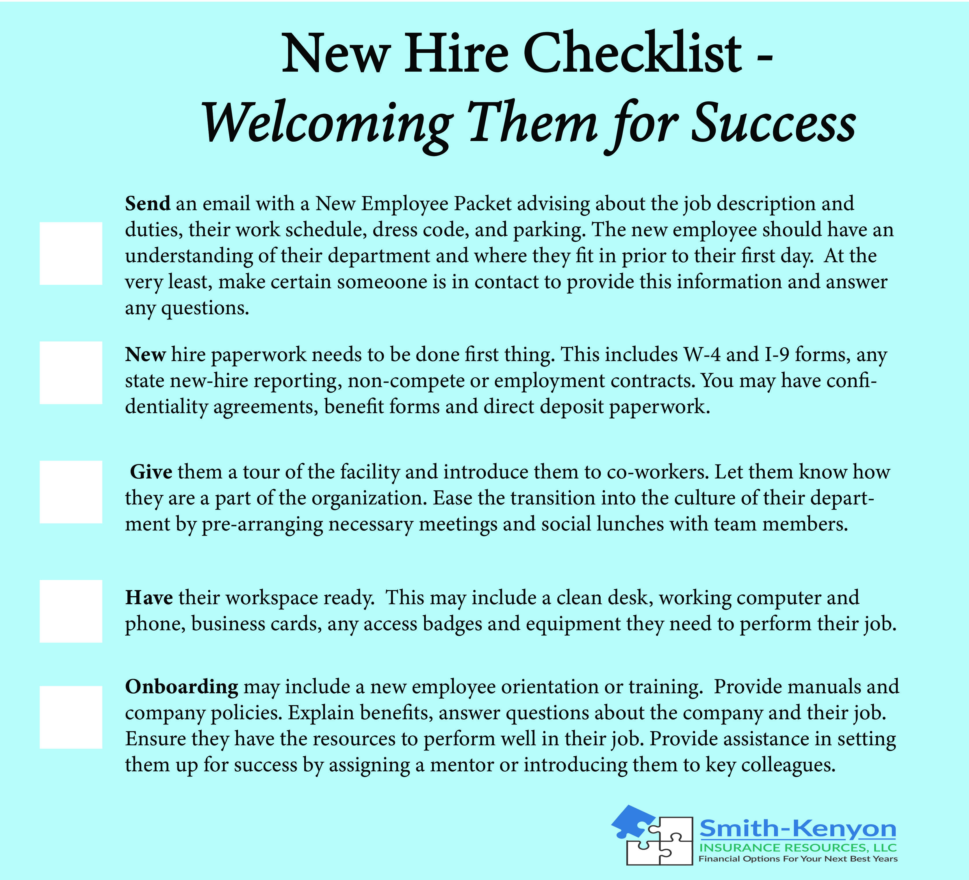 New Hire Checklist For Small Business Owners Checklist