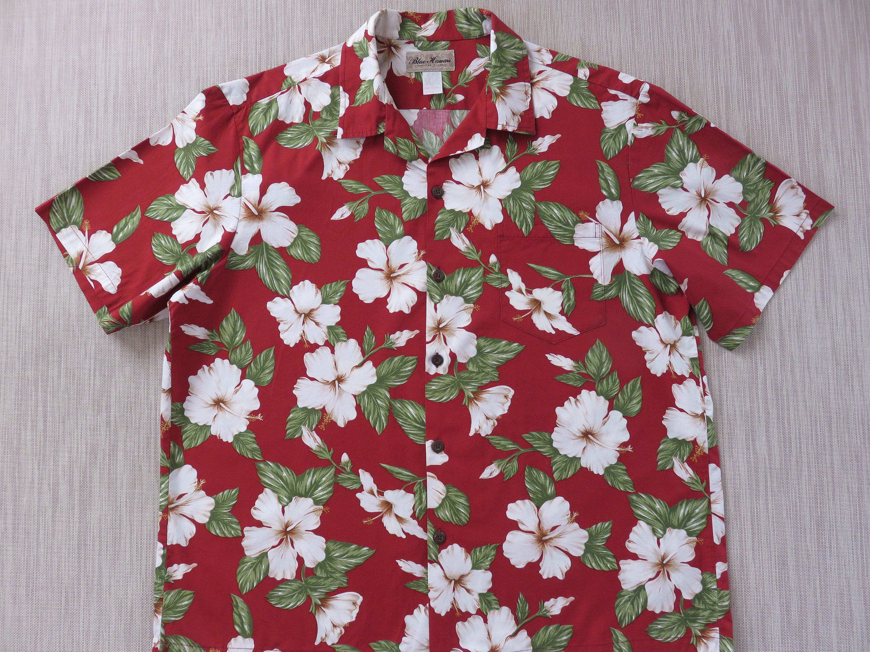 Mens 1970s Hawaiian Island Printed Polyester Button Down Breast Pocket Shirt
