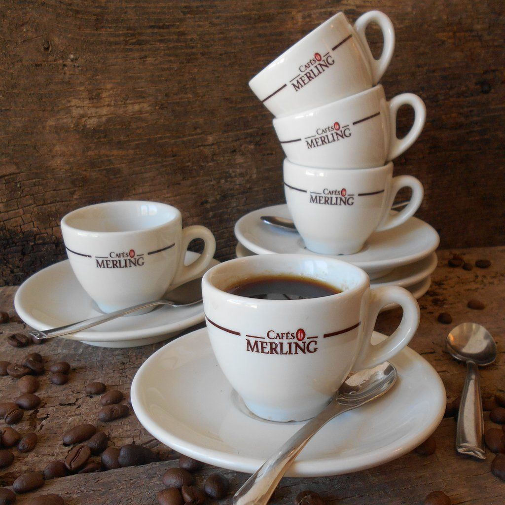 Set of Five French 'Cafés Merling' Espresso Cups and
