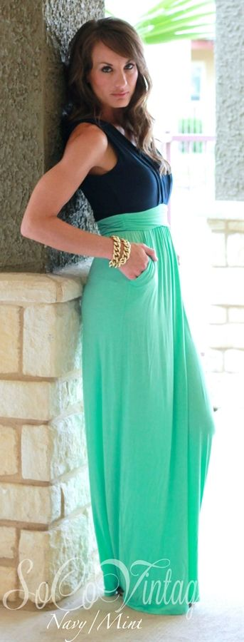 Two Tone Maxi Dress Love The Color Combo