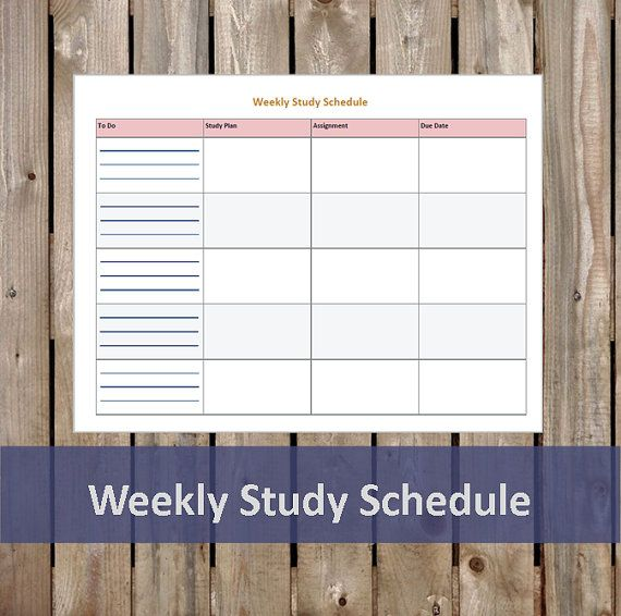 Weekly Study Schedule - Student Planner - Printable/Editable PDF
