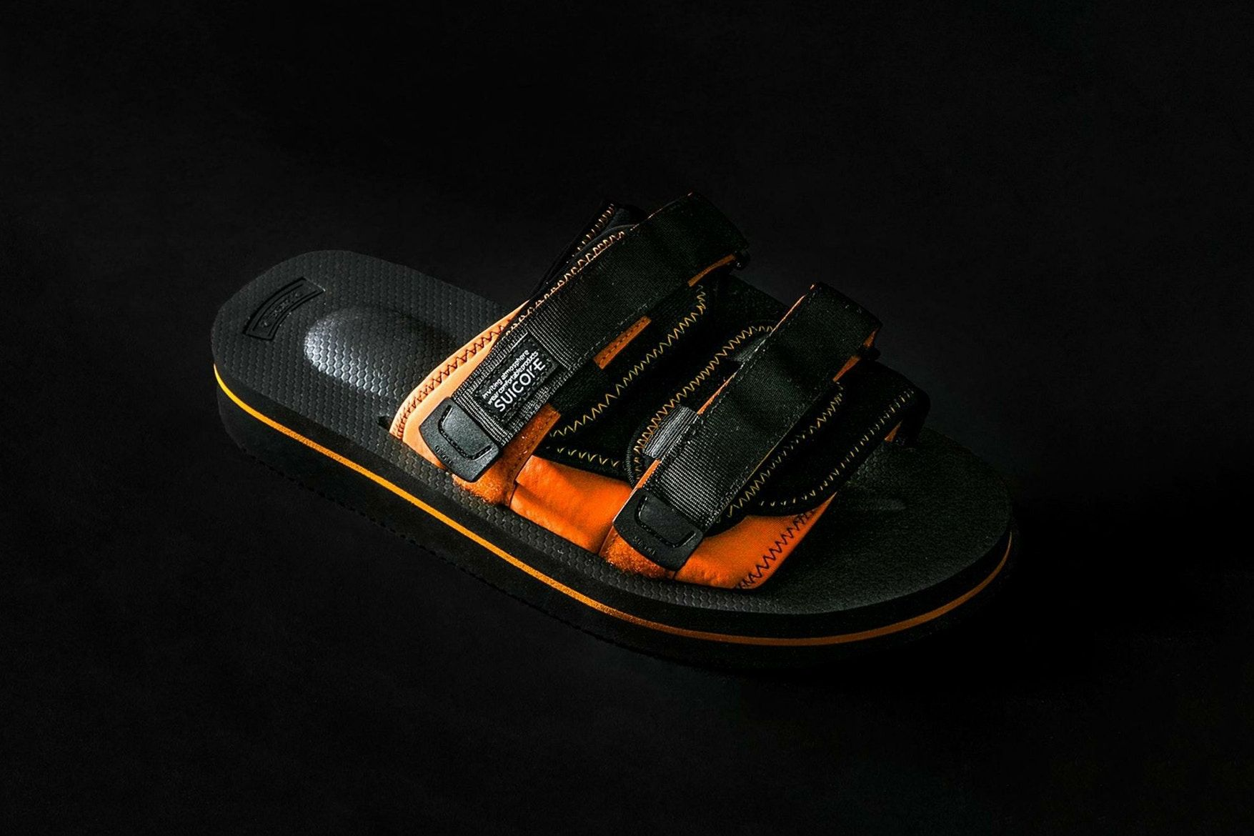 45adf133e1 monkey time SUICOKE MOTO V collaboration slides sandals may 2018 release  date info drop shoes footwear black orange silver olive