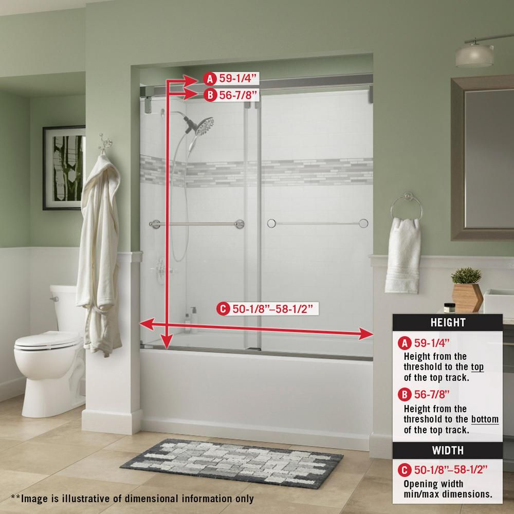Delta Everly 60 X 59 1 4 In Frameless Mod Soft Close Sliding Bathtub Door In Nickel With 3 8 In 10mm Clear Glass Sd3441957 The Home Depot In 2020 Bathtub Doors Unique Shower Doors Bathtub Shower Doors