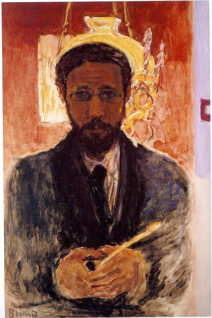 """Pierre Bonard, Self Portrait with Lamp 1908.""""One must never let go before having managed to set down one's first impressions."""" -bonnard"""