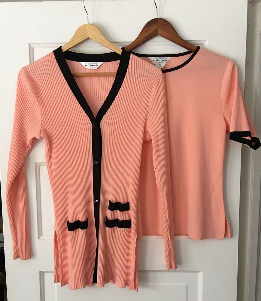 Exclusively Misook 2-Pc Twin Set XS Pink Cardigan Sweater Short ...