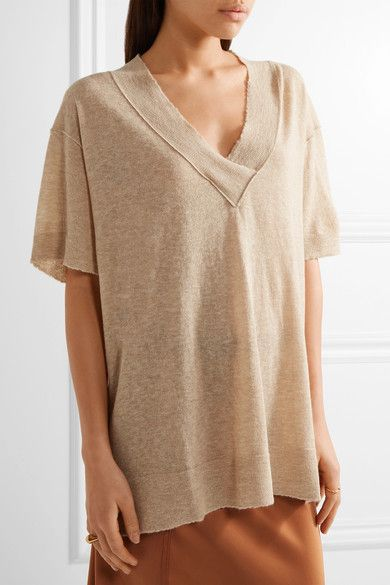 By Malene Birger | Allawilde distressed stretch-knit sweater | NET-A-PORTER.COM
