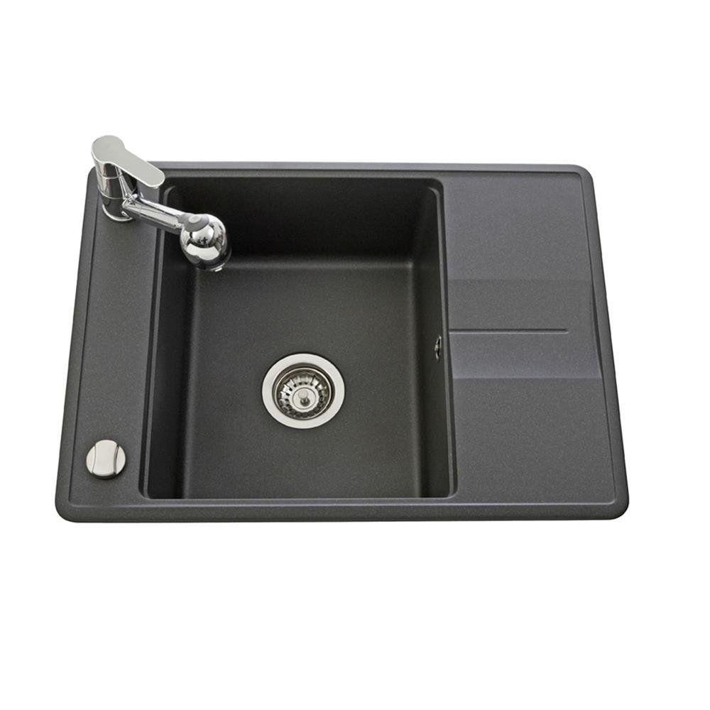 Evier Granit Noir Aquasanita Bellis 1 Bac 1 Petit Egouttoir Amazon