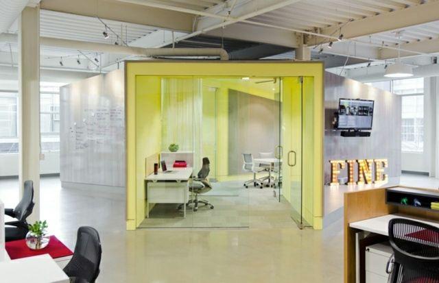 Moderne Einrichtung Ideen Büro Gelbe Wand Glas