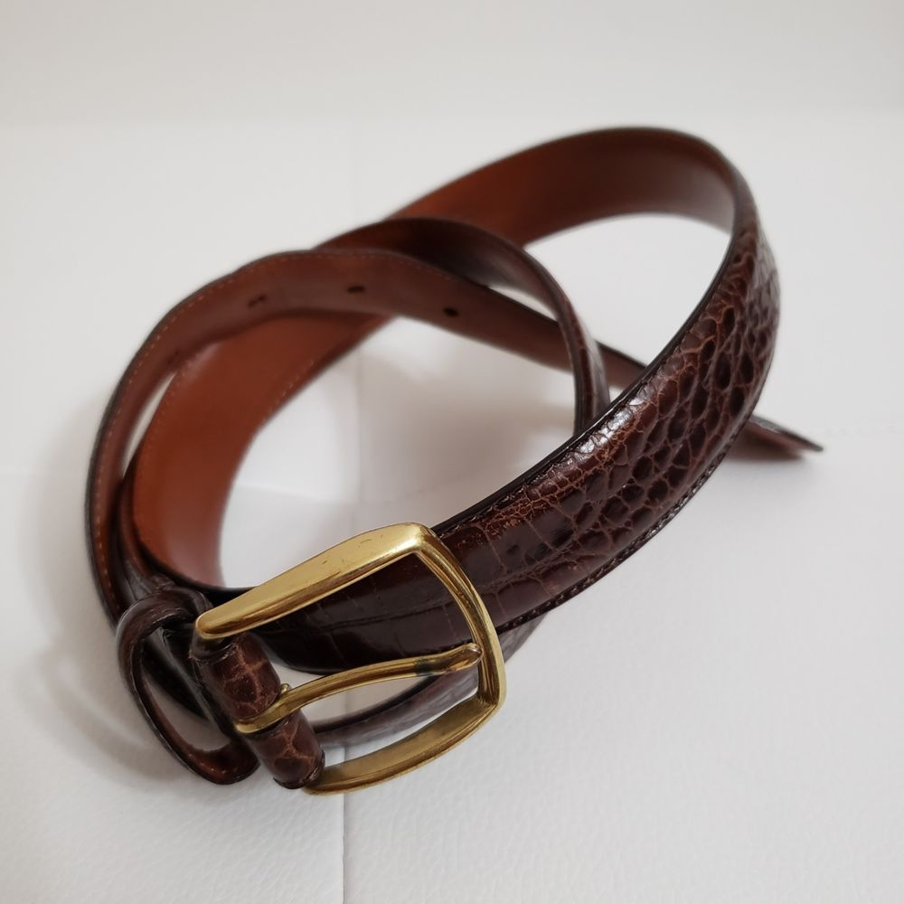 Coach mens belt 38. Color Brown. Crocodile Leather. #fashion