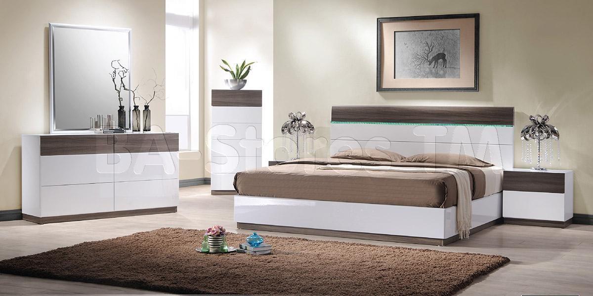 Soli Modern Bedroom Bed Set (Platform Bed with Lights, 2 Nightstands ...