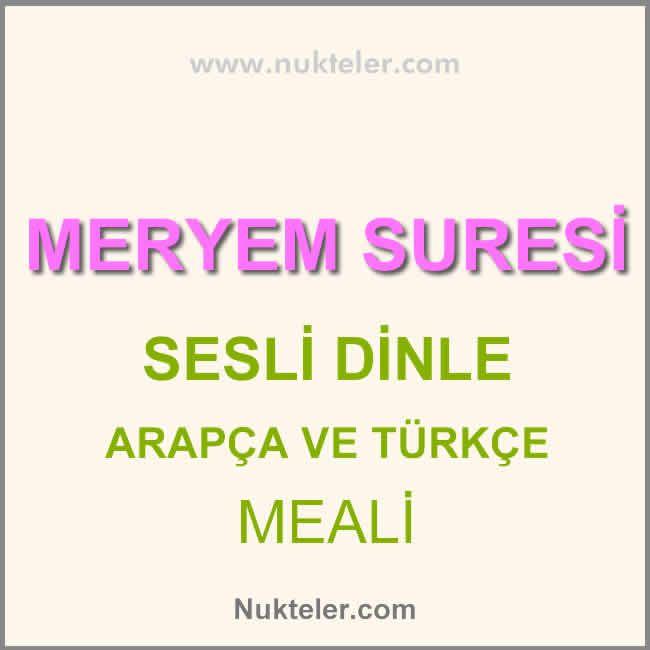 Meryem Suresi Turkce Araba