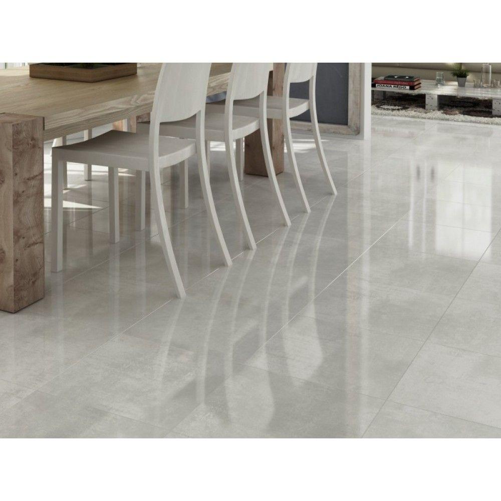 Kool Perla Grey 60x60 Polished Porcelain Floor Tiles Hall