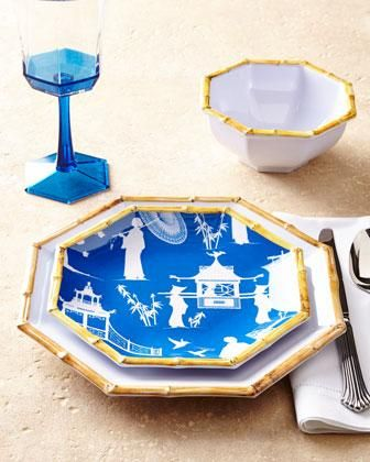 Chinoiserie Melamine Dinnerware by Kim Seybert at Neiman Marcus. (Nice for Poolside or Beach Luncheon) & blue and white asian decor | ...  chinoiserie melamine blue and ...