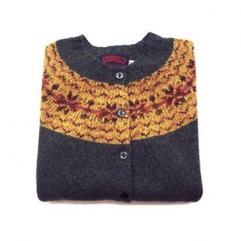 3c3a46a4a Women s Scottish Shetland Wool Fair Isle Cardigan Sweater - Loden ...
