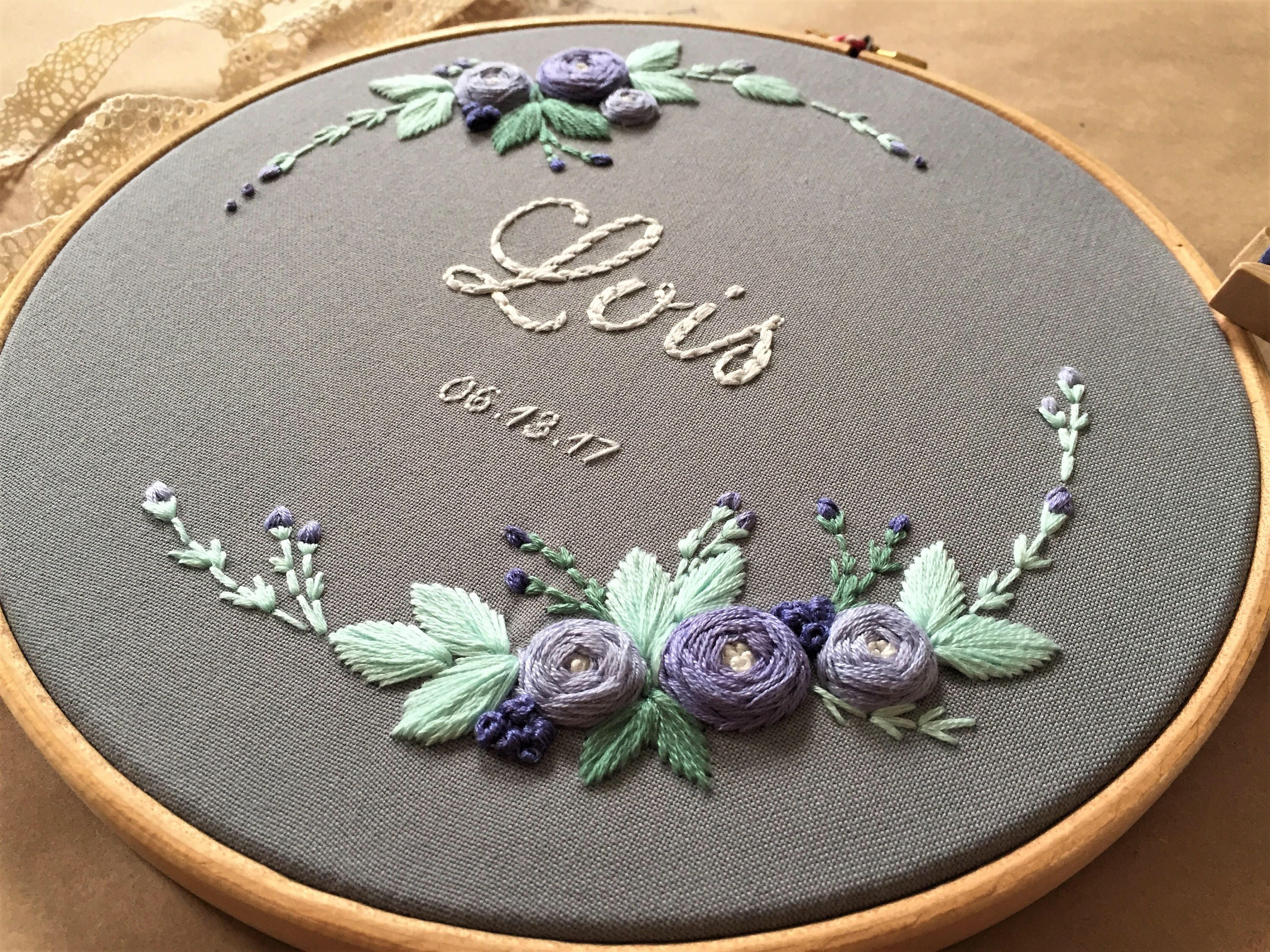 Custom Name Embroidery, Nursery Decor, Baby Shower Gift, Embroidery Hoop Art, Nursery Wall Art, Personalized Gift, Broderie, Hand Embroidery – embroidery