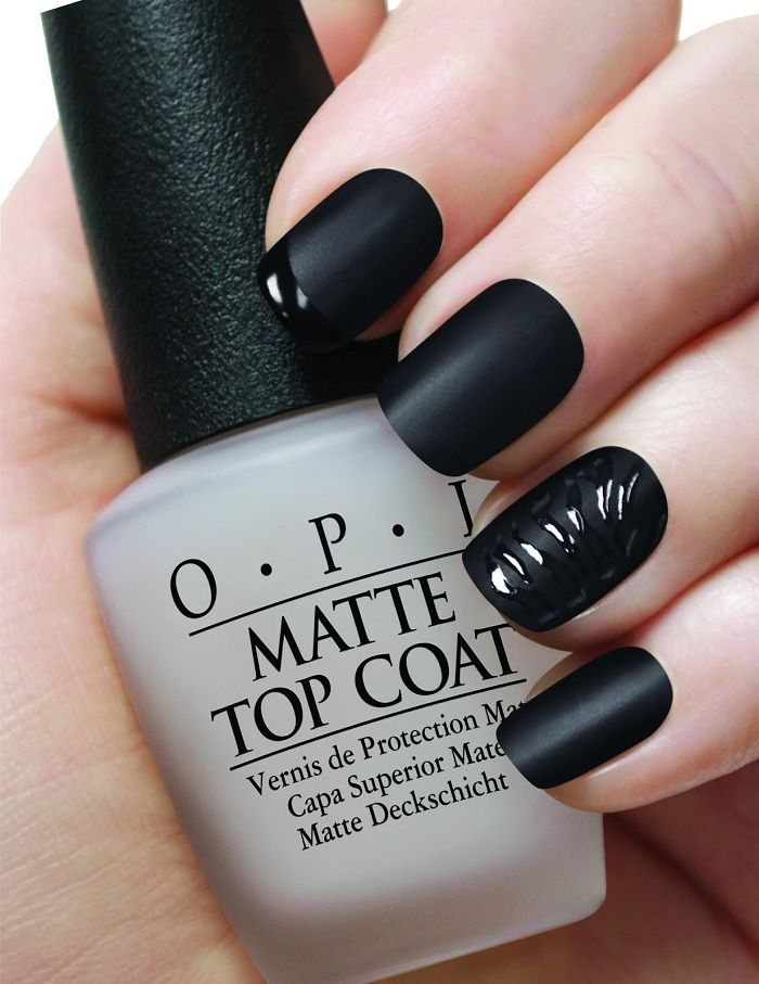 Black Nail Art Pollish Using Opi Matte Top Coat