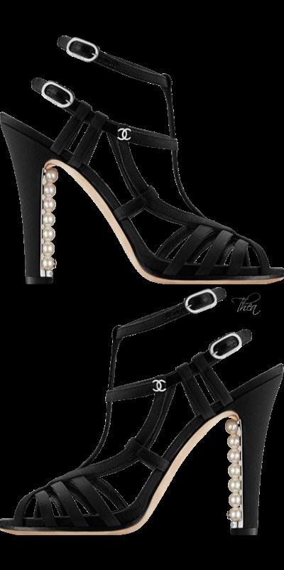Chanel Black Sandal Heels w Pearl Heel Embellishment