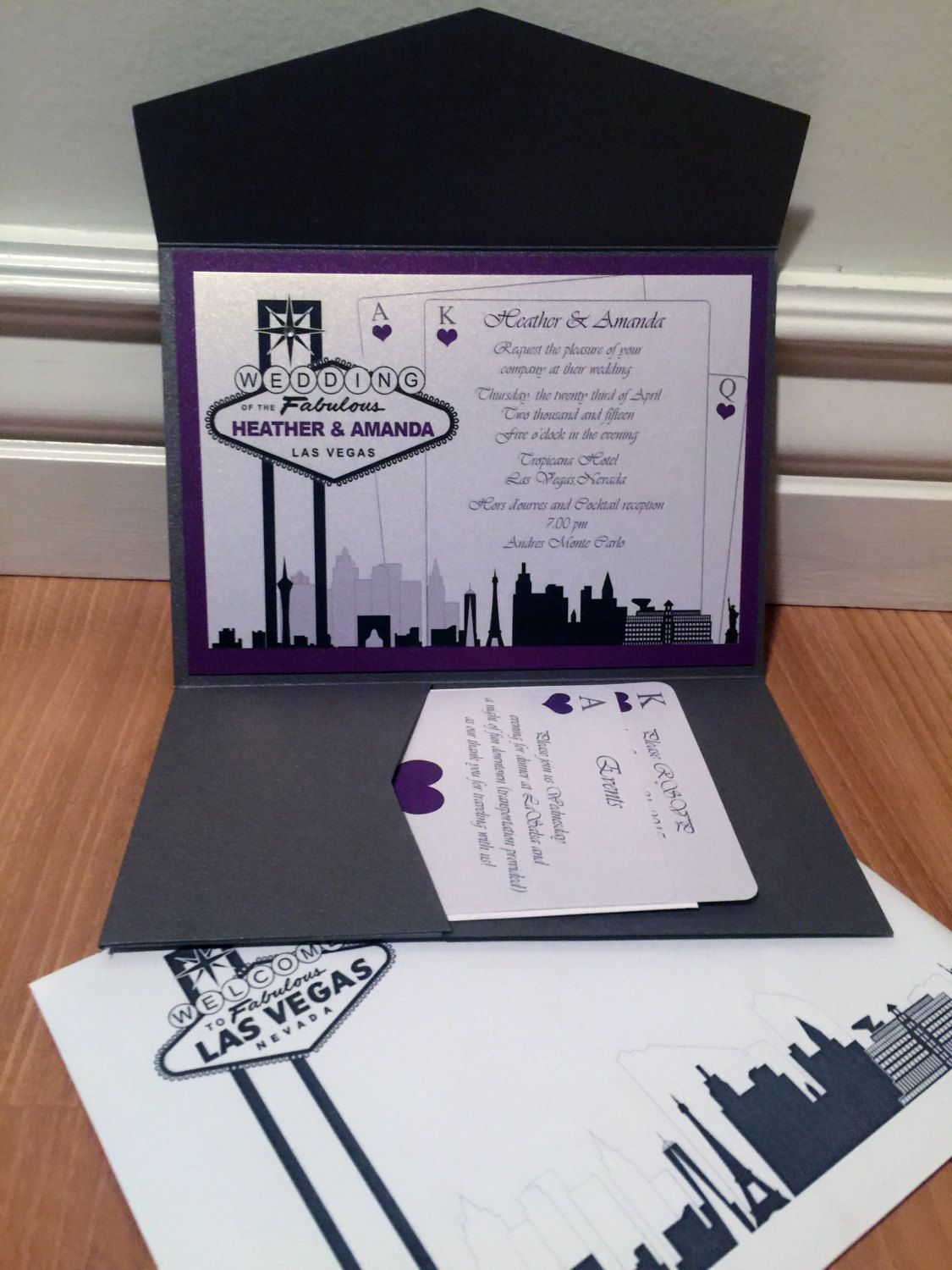 Elegant Las Vegas Themed Wedding Invitation-Custom Colors | Las ...