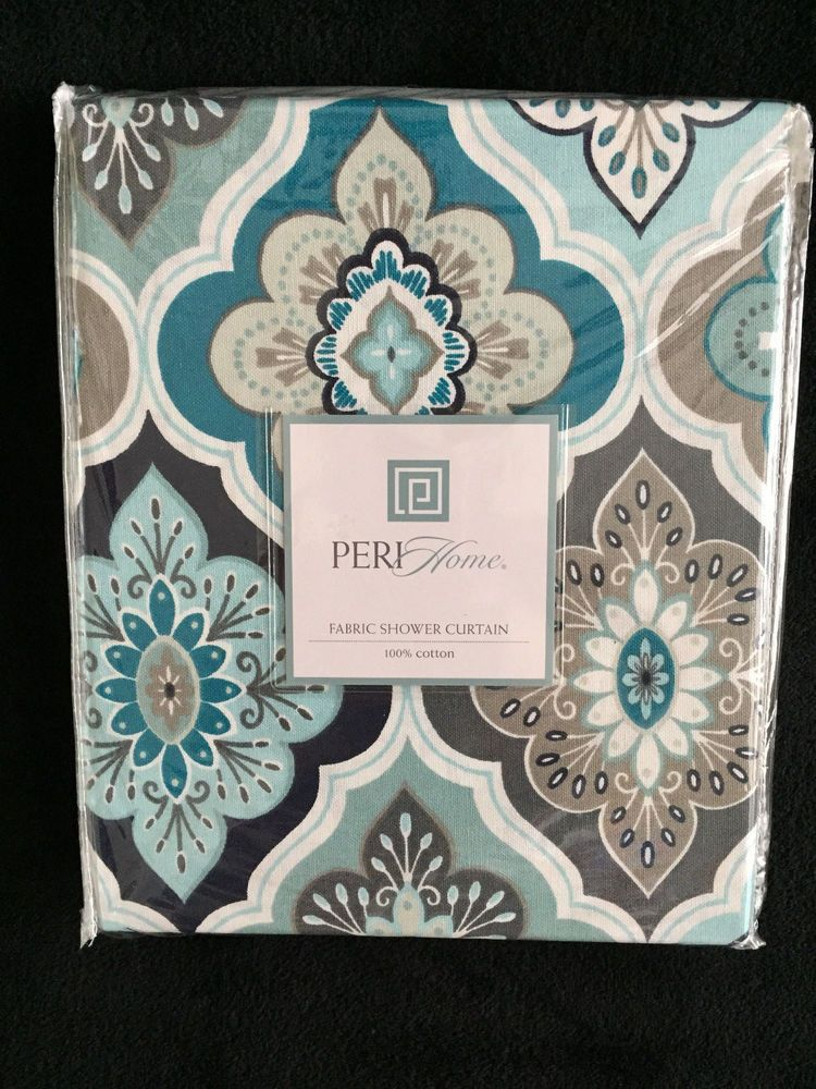 Peri Lilian Tile Medallion Aqua Teal Grey White   Fabric Shower Curtain    New