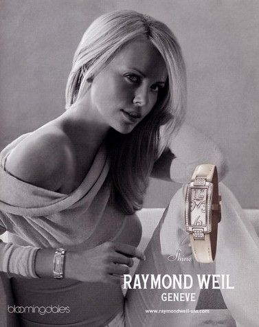 Charlize Theron in ad of Raymond Weil